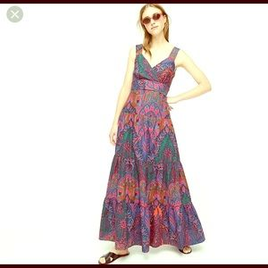 Jcrew Tiered maxi dress in ratti scarf paisley